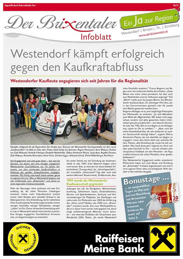 """Das Infoblatt """"Der Brixentaler"""""""