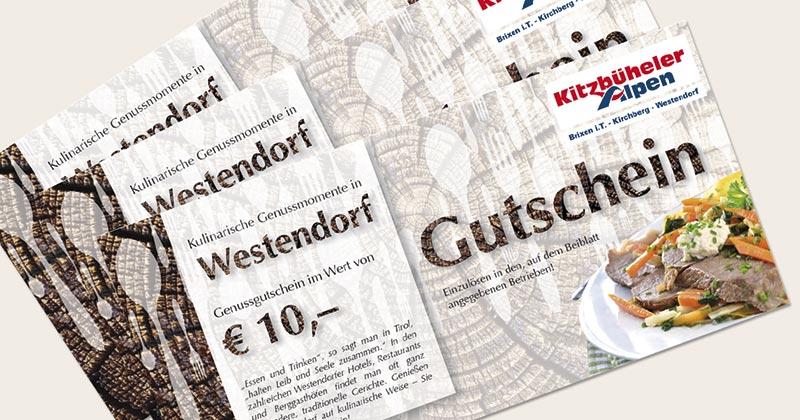 """""""Kulinarischen Genussgutscheine"""" der Westendorfer Restaurantbetriebe."""